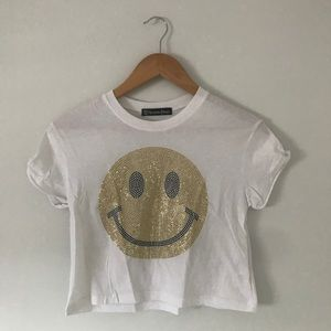 Delias(Recycled Karma)glitter smiley face tee